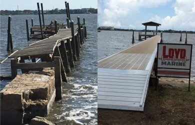 Before and after Loyd Custom Marine Dock Builder, Aluminum Dock Construction and Thru Flow Decking before Fishing platform with roof