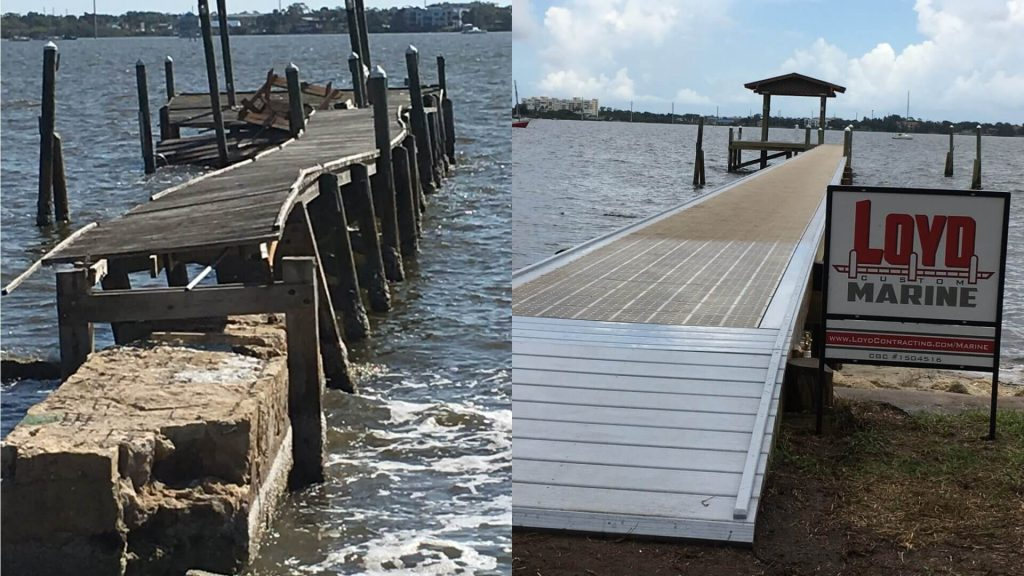 Before and after custom dock build by Loyd Custom Marine - New aluminum dock with Thru Flow Decking and covered fishing deck at the end