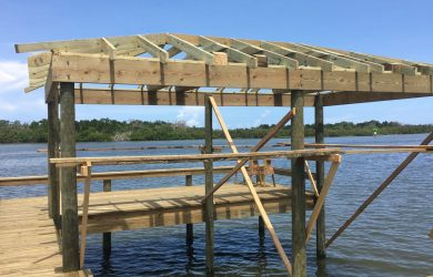 Boat Dock and Boat House with Roof and Boat lift Brevard County FL