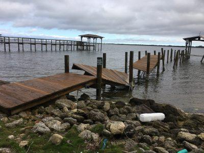 Before dock repair and dock piling repair by Loyd Custom Marine Brevard County FL
