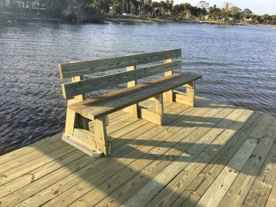 Custom wood bench build with new dock construction