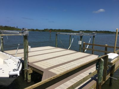 Flow Through Decking with Sling Boat Lift and Custom Boat Dock, Boat Dock Builder Brevard County FL
