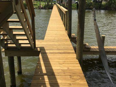 Custom multi level dock with sun deck, custom wood dock, Brevard County Custom Dock Construction
